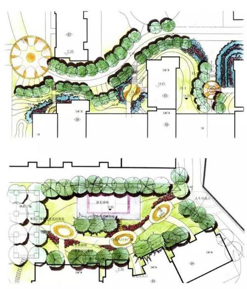 西亚园林手绘效果图