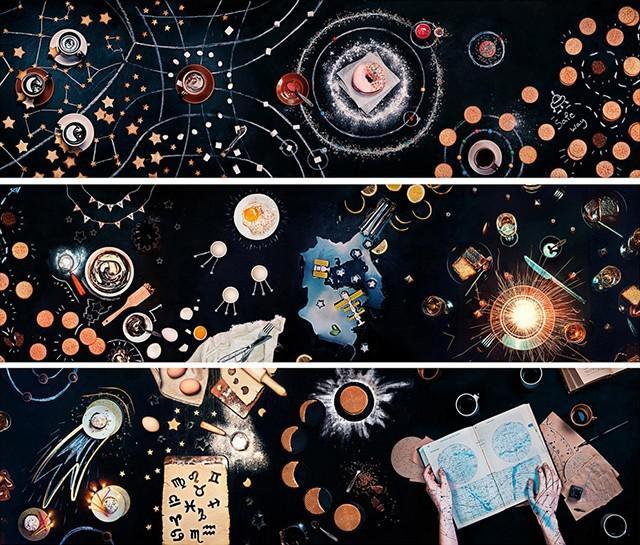创意摄影:餐桌上遨游太空图片